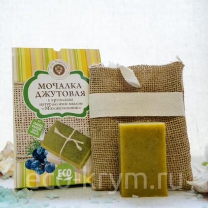 Мочалка джутовая с крымским натуральным мылом «МОЖЖЕВЕЛЬНИК»