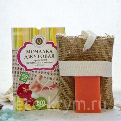 Мочалка джутовая с крымским натуральным мылом «РОЗА»