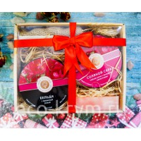 Подарочный набор №13 (Скраб соляной Роза, Бельди с крымской розой, мыло Роза, мочалка джутовая)