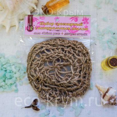 Мочалка вязаная с мылом «Чайная роза», 85г