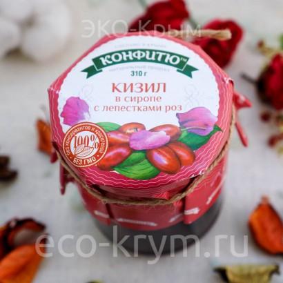 Варенье из ягод кизила с лепестками роз, 310г